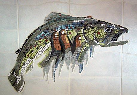 Fresque en forme de truite